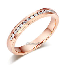14K Solid Rose Gold Wedding Band Half Eternity Ring 0.17 Ct Diamonds