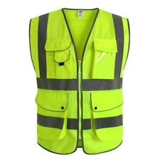Traffic Police Safety Vest Jacket Zip Security High Visibility Night Reflective