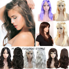 Trendy Women Long Full Wig Straight Curly Party Cosplay Costume Fancy Dress adr4