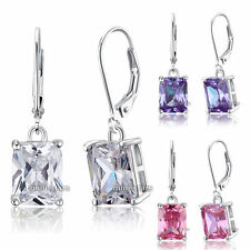 4 Carat Emerald Cut Dangle Solid Sterling 925 Silver Bridal Wedding Earrings