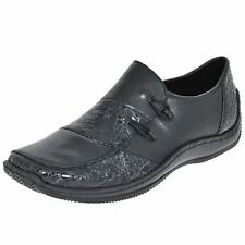 Rieker L1762-48 Black Womens Leather Loafers Slip-on Antistress Shoes