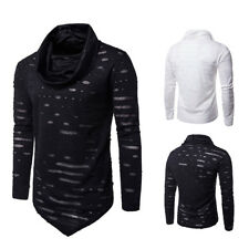 Autumn Casual Men Long Sleeve Cowl Neck Ripped Jumper Hoodies Pullover T-shirt