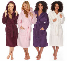 Womens Super Soft Hooded Fleece 3/4 Length Bath Dressing Gown Robe Nightwear