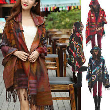 Women Bohemian Collar Plaid Cape Cloak Poncho Jacket Coat Shawl Scarf Fashion
