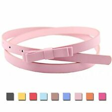 New Delicate Double Layer Bow Belt Fashion Women Bow Candy Color Sweet Leather
