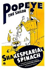 Popeye The Sailor Shakespearian Spinach Vintage Movie Poster Reproduction