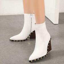 Women Block Heels Ankle Boot Stud Cow Leather Solid White Black New Heels Shoes