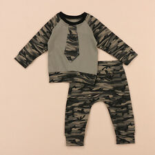Baby Newborn Boy Camo Top Blouse T-Shirt Pants Trousers Outfits Casual Set 0-24M