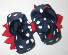 Navy Blue Red Dots Boutique Layered Hair Bow with Spikes Hairbows Girls Baby