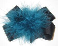 Black Teal Jade Boutique Hair Bow Marabou Puff Feather Hairbow Pageant Large Mix
