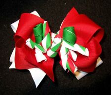 Christmas Holiday Double Layer Korker Hair Bow Boutique Girls Baby Hairbow Red