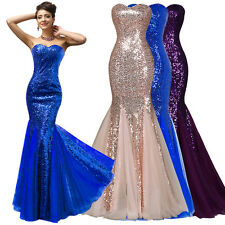 GK Sparkly Sequins Elegant Tulle Mermaid Long Ball Gown Evening Prom Party Dress