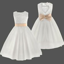 Girl Communion Party Prom Flower Girl Dress Princess Pageant Wedding Bridesmaid
