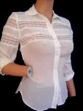 New BEBE Lace Insert White Cropped Blouse Top XXS XS S Mulberry Silk Shirt
