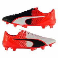 Puma evo Speed SL Leather FG Firm Ground Football Boots Mens Blk/Rd Soccer Shoes