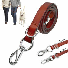 Brown Top Grade Leather Dog Leash Real Leather Pet Walking Leads 4ft Long