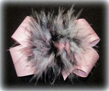 Baby Pink Black Boutique Hair Bow Marabou Puff Feather Hairbow Pageant Large Mix
