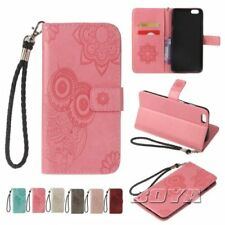 For iPhone 5 6 7 8 X Plus flip wallet phone case card holder owl embossed strap