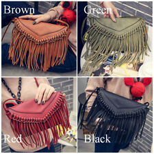 Leather Envelope Fringe Shoulder Bag Tassel Crossbody Handbag Womens Girls Purse
