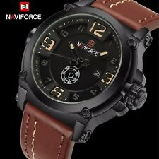 NAVIFORCE genuine mens leather watch analog auto date water resistant luminous