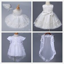 Embroidered Baby Kids Flower Girls Dress Christening Baptism Gown Infant Outfit