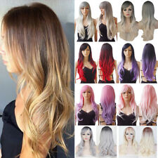 "28"" Ladies Full Wig Long Straight Wavy Ombre Cosplay Heat Resistant Wigs UK svc7"