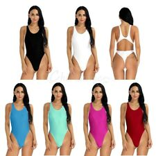 Women Sleeveless Cutout Back Stretch Leotard Ladies Bodysuit Top Blouse Bodycon