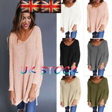 UK Ladies Long Sleeve Jumpers Tops Crochet Knitted Sweater Plus Size Blouse 8-22
