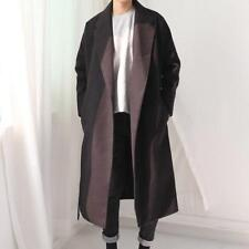 Mens Stylish Wool Blend Trench Coat Windcoat Long Loose Parkas Lapel Jackets New
