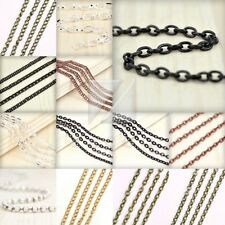 4M 13.12 feet Unfinished Chain Necklace Ball Curb Flat Cable Rollo Woven