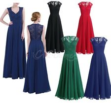 Lace Chiffon Women V Neck Formal Long Dress Cocktail Evening Party Bridesmaid