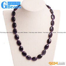 Handmade Natural Amethyst Beaded Stone Long Necklace Fashion Jewelry 17-19 Inch