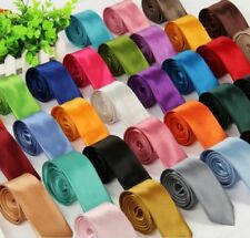 HOT SATIN SOLID PLAIN MENS TIE WEDDING CLASSIC BUSINESS SKINNY NECKTIE MEN TIES
