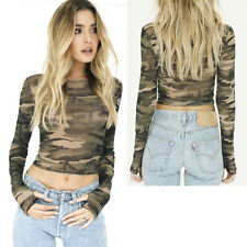 See-through Tops Sheer Mesh Long Sleeve New Camouflage Ladies T-Shirt