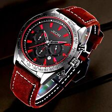 JEDIR  genuine mens leather watch rubber silicone auto date analog luxury water