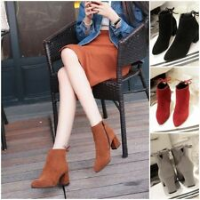 New Womens Ankle Boots Suede Martin Shoes Suede Casual Block Heel Winter Warm EC