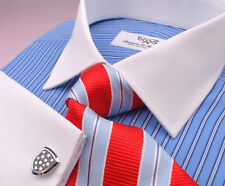 Blue Designer Striped Formal Business Dress Shirt Sexy White French Double Cuff
