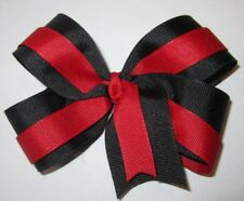 """Red and Black Boutique Hair Bow 2 Tone Large 5"""" inch Girls Baby Toddler Hairbow"""