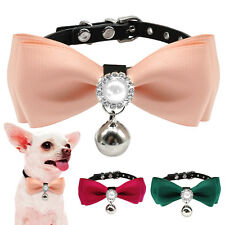 PU Leather Puppy Small Dog Bowtie Collar Cute Bowknot Stud Cat Collar with Bell