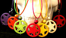 Howlite turquoise 5 pointed star pendant on clasp cord necklace, 7 colours