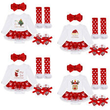 4Pcs Christmas Newborn Baby Girls Romper Dress Jumpsuit Outfits Warmer Clothes