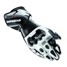 Spidi Carbo 3 Leather Motorcycle Racing Sport Track Gloves Black White