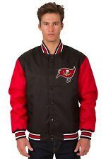 NFL Tampa Bay Buccaneers Poly Twill Jacket Black Red Patch Logo JH Design