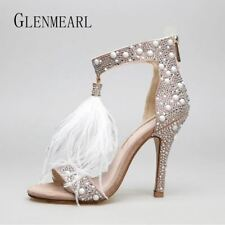 Genuine Leather Women Sandals Pumps Fur Rhinestone Feather High Heel Wedding