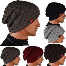 New Unisex Women Men Skull Knit Beanie Cap Reversible Baggy Wool Winter Warm Hat
