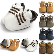 US Winter Newborn Baby Boy Girls Toddler Soft Sole Leather Crib Shoes Sneakers
