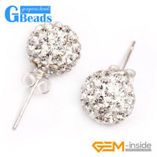White Czech Crystal Rhinestones Pave Clay Round Disco Ball Stud Earrings