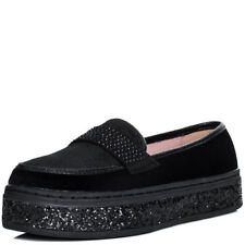 Womens Glitter Platform Flat Loafer Shoes Sz 5-10