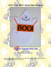 "Cute ""BOO!"" Ghost Wall Hanging-Halloween-Plastic Canvas Pattern or Kit"