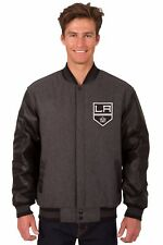 Los Angeles Kings Wool & Leather Reversible Jacket with Embroidered Logos Gray